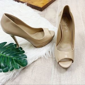 Aldo Peep Toe Nude Platform Slip On Heels Pumps